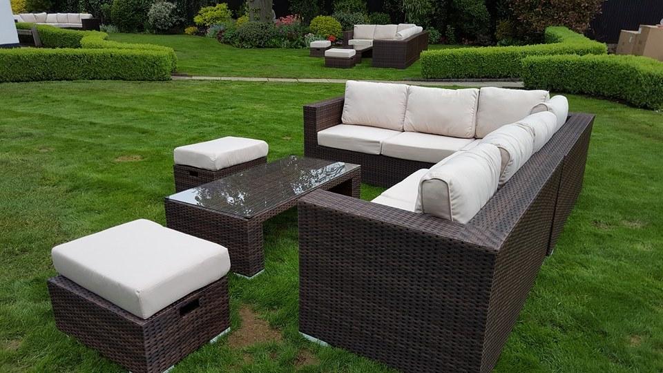 Large Corner Rattan Sofa Set Hire Outdoor Sofa Hire
